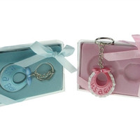 Key Chain Baby Shower Favors, 4-inch, It's A Girl Baby Bib, Pink