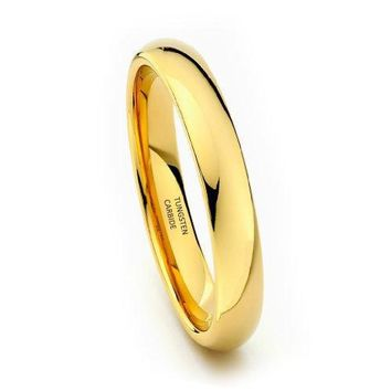 4mm Yellow Gold Tungsten Carbide Wedding Band (14k, 18k, 24k)