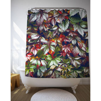 Leaf Shower Curtain, Nature Photography, Red Green, Shower Liners, Bath Accessories