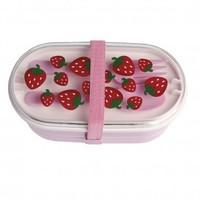 Strawberry Lunch Box With Cutlery | DotComGiftShop