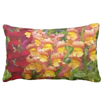 Colorful Snapdragons Floral Lumbar Pillow