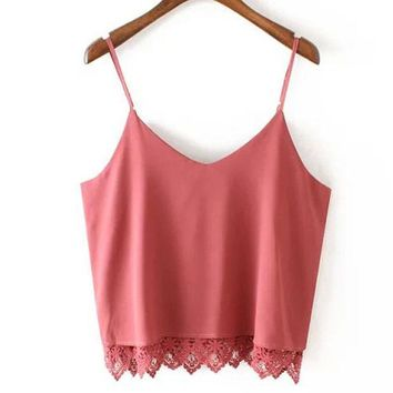 CREYUG3 Summer V-neck Lace Chiffon Sleeveless Camisole Blouse [4919232644]