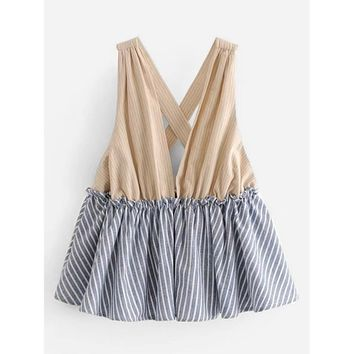 Contrast Ruffle Hem Striped Top