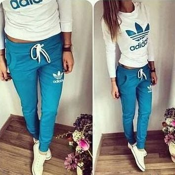 """Adidas"" Women Casual Clover Letter Print Long Sleeve Trousers Set Two-Piece Sportswear"
