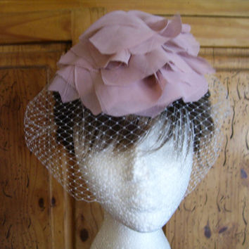 Bandeau Birdcage Bridal Veil with Blush, Dusky Pink Funky Flower Wedding Hair Piece, Veil Available in Ivory, White, or Pink, Boho Headpiece