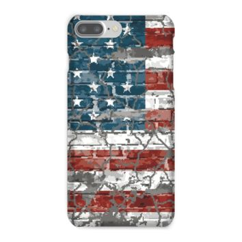 Vintage American Flag on a Brick Wall Phone Case