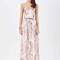 Orchid Print Spaghetti Strap Backless Sheath A-Line Maxi Dress