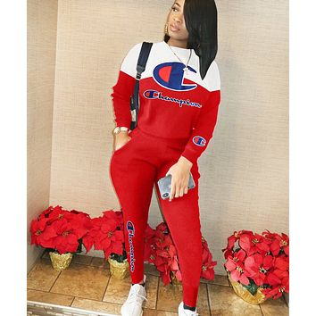 Champion New fashion letter print long sleeve top and pants two piece suit Red