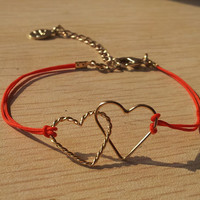 Couple double heart red rope bracelet