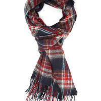 FOREVER 21 Frayed Plaid Scarf Red/Navy One