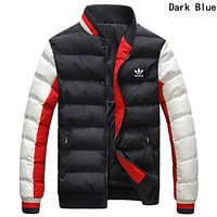Adidas Winter Fashion Men Women Warm Print Zipper Cardigan Cotton Jacket Coat Windbreaker Dark Blue