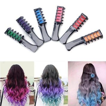 ac PEAPO2Q Temporary Hair Chalk Dye Powder With Comb Salon Hair Mascara Crayons Home DIY Blue/Green/Yellow/Red/Purple/Hot Pink