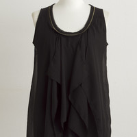 Black Flounced Chiffon Dress