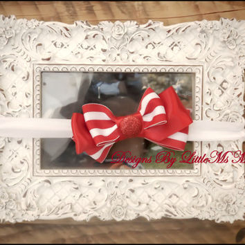 """Red Striped Headband For Little Girls, Toddler Girls and Baby Girls  """"Candy Striper"""""""