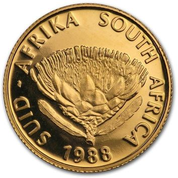 1988 South Africa 1/10 oz Gold Protea Groot Trek Proof