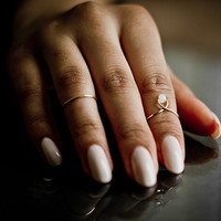 White Bead Knuckle Ring 2pc Set (mid finger ring / midi ring)