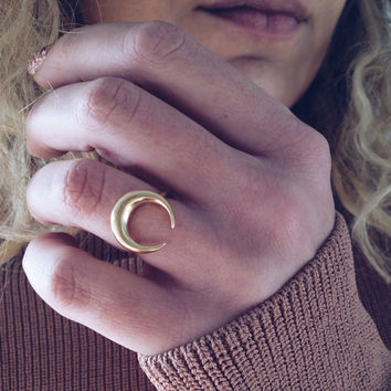 moon ring,gold ring,horn ring,silver 925 ring,sterling silver ring,horn ring,Wicca ring,crescrent moon ring,middle finger ring,dainty ring