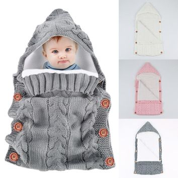 Beautiful Button Handcrafted Knitted Crochet Hooded Sweater Swaddle WRAP