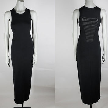 Vintage 90s Dress / 1990s Minimalist Black Stretch Knit Backless Maxi Dress S