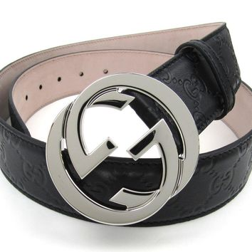 Gucci Interlocking Large G Buckle Black Signature Leather Belt size 85.34