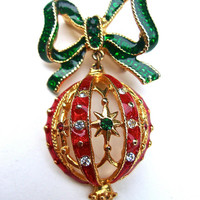 Christmas Bow Ornament Brooch, Red Green Enamel, Rhinestones, Dangle, Vintage