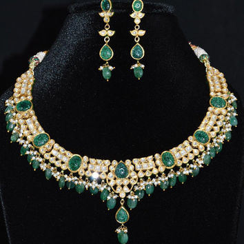 DIAMOND EMERALD seed pearl studded 22k 23k 18k gold persian moghul carved cocktail necklace and dangle earrings set