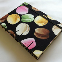 Fabric Blank Recipe Book - Handmade - Coptic Stitched - Macarons