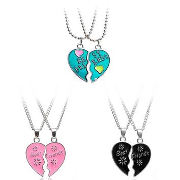 Rinhoo Charms Couple Necklace Love Heart Stitching Pendant Puzzle Matching Two Halves Heart for Best Friends Mens Womens  Gift