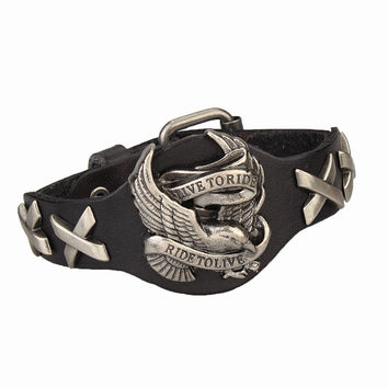 Live To Ride, Ride To Live Leather Bracelet
