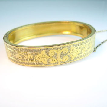 Antique Victorian Bracelet Gold Filled Hinged Oval Bangle Foliate Engraved 1870s Jewelry
