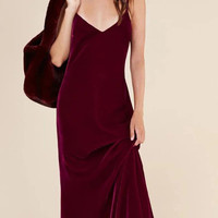 Strappy V-Neck Velvet Long Prom Dress