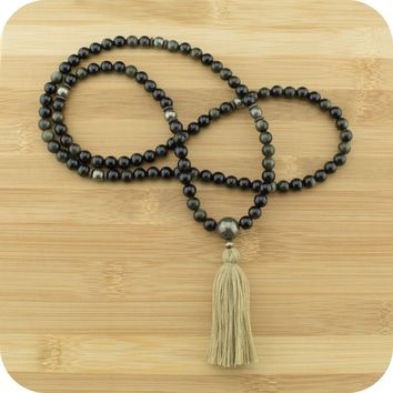 Gold Obsidian Mala with Golden Hematite