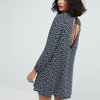 Reclaimed Vintage Inspired Open Back Swing Dress In Grunge Floral at asos.com
