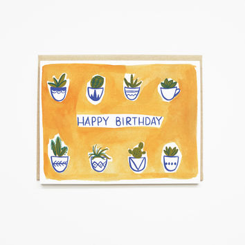 Watercolor Succulent Birthday Card