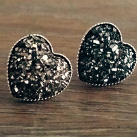Druzy earrings- Gunmetal heart drusy silver tone stud druzy earrings