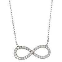 "Sterling Silver 16 + 1"" extension CZ Infinity Figure 8 Necklace"