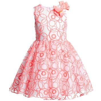 White and Neon Pink Organza Dress