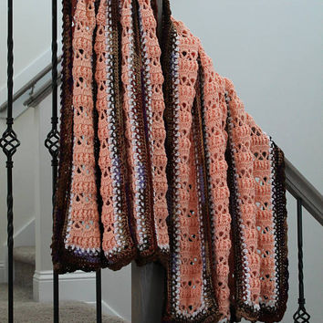 Crochet Blanket - Large Panel Afghan - Peach and Brown Blanket - Crochet Afghan - Bed Spread -Bed Cover - Adult Blanket
