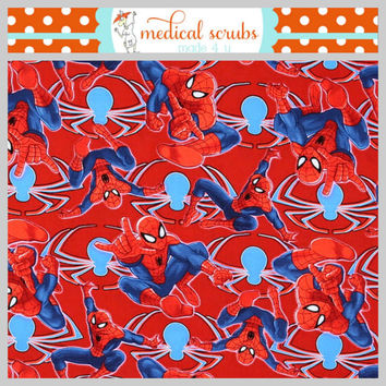 Spiderman  medical dental vet childcare scrub top