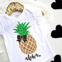 Pineapple Shirt Glitter Pineapple Sparkly Pineapple V Neck Girl's Shirt Black Glitter Girl's Summer Shirt Baby Girl Shirt Hipster Baby #74