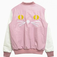 Pink Contrast PU Baseball Jacket With Embroideried Cat Back - Choies.com
