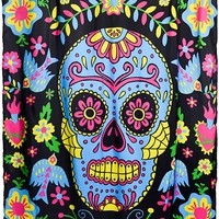 """""""MEXICAN EMBROIDERY"""" SHOWER CURTAIN BY TOO FAST (BLACK)"""