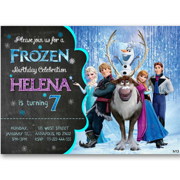 Disney Frozen, Elsa, Olaf, Anna, Chalkboard, Frozen Kids Birthday Invitation Party Design