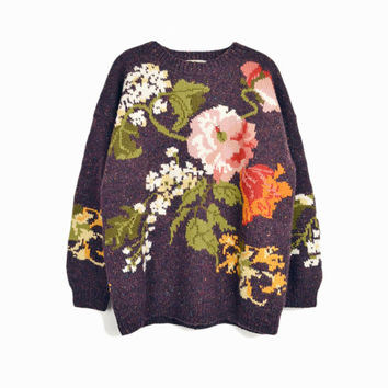 Vintage 90s Handknitted Floral Granny Sweater by Express / 90s Oversized Sweater - women's large