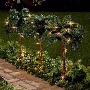 Outdoor Lighted Palm Trees Tropical Indoor Outdoor Lawn Patio Yard Decor Set NEW