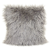 18in Mongolian Grey Fur Pillow