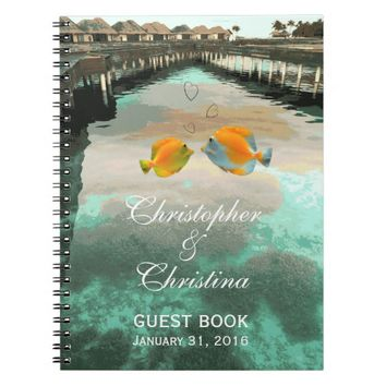 Tropical Beach Reef Wedding Guest Book Planner Notebook