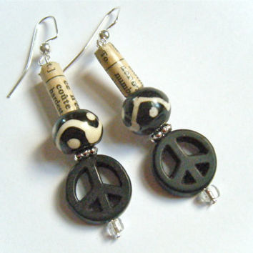 African Peace Dictionary Black Beads Recycled Material Paper Dangling WIre Hook Earrings Jewelry