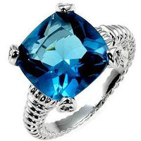 Aqua Cushion Engagement Ring, size : 05