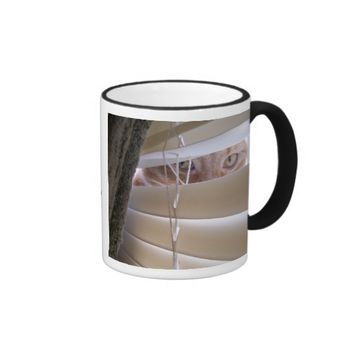 Cat in the Window Ringer Coffee Mug